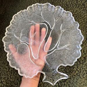 2pc set vintage tree shaped salad glass plate leaf